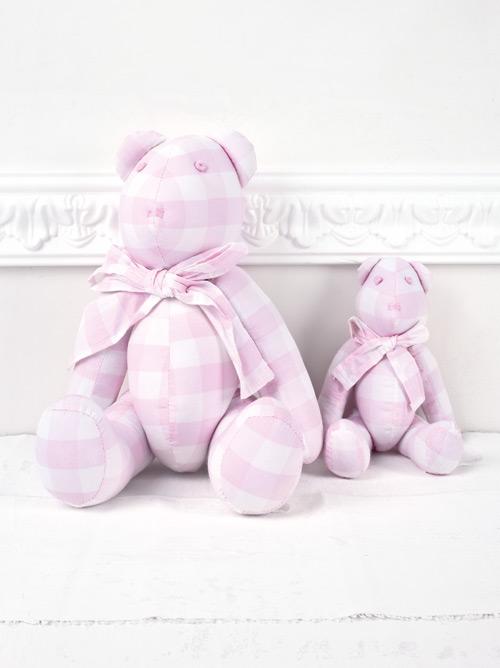 Αρκούδος υφασμάτινος καρό ροζ