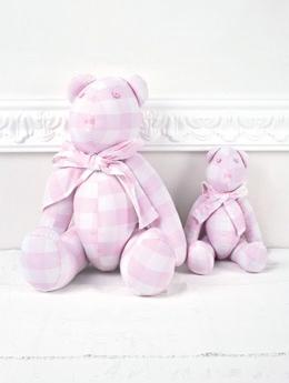 Αρκούδος-υφασμάτινος-καρό-ροζ