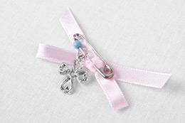 Μαρτυρικό σταυρουδάκι με ροζ κορδελάκι