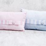 Μαξιλαράκια σιέλ και ροζ με φιογκάκι