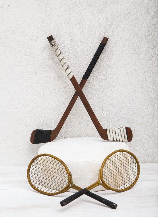Μπαστούνι του χόκεϊ και διακοσμητικές ρακέτες