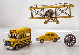 Aεροπλάνο,-σχολικό-λεωφορείο,-σκαραβαίος-και-ρόδα-κάρου